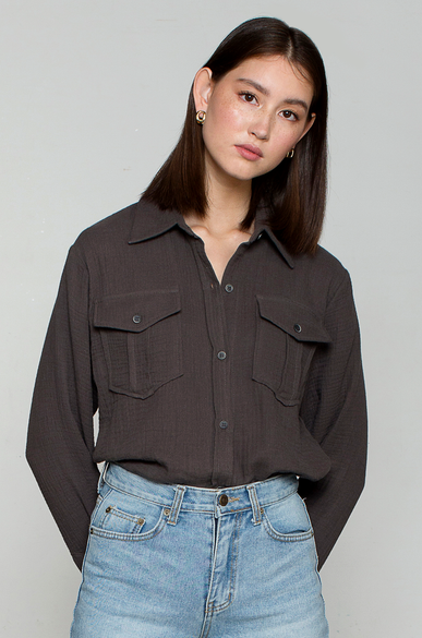 OLIVIA NZ Store online | Muslin Pocket Shirts / Charcoal