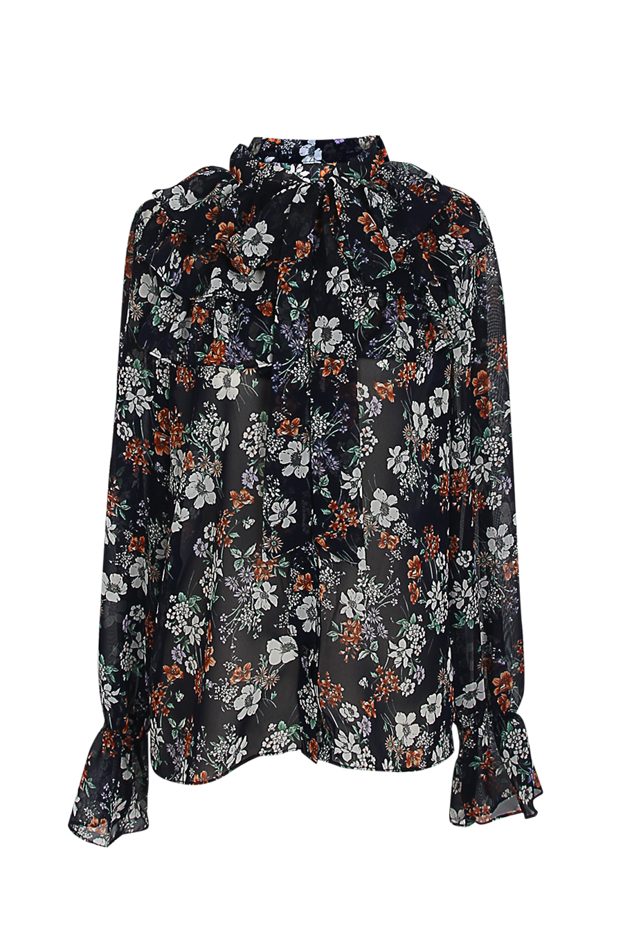 OLIVIA NZ Store online | Paige Floral Ruffle Blouse / Navy