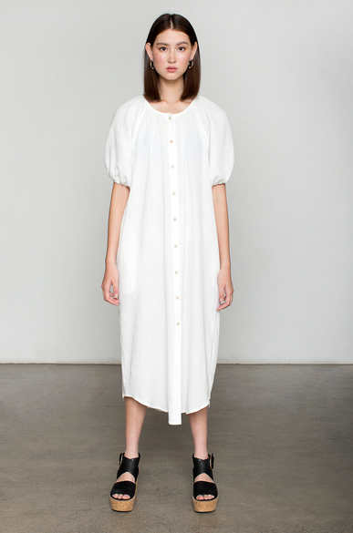 OLIVIA NZ Store online | Muslin Puff Sleeve Dress / Cream