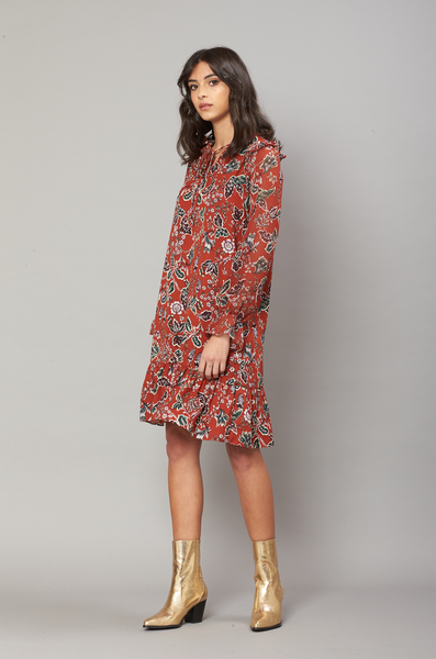 OLIVIA NZ Store online | Austyn Floral Dress / Dark Orange