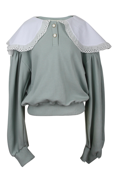 OLIVIA NZ Store online | Candy Eyelet Collar Sweatshirts / Mint Green