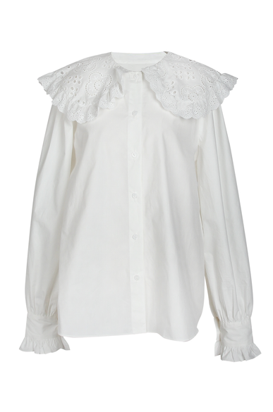 OLIVIA NZ Store online | Darling Eyelet Collar Blouse / Cream