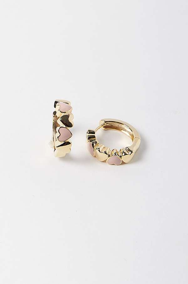 Eve Mini Heart Earrings / Pink