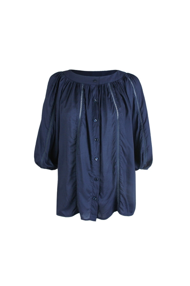 OLIVIA NZ Store online | Ines Flowy Blouse / Navy - OLIVIA NZ