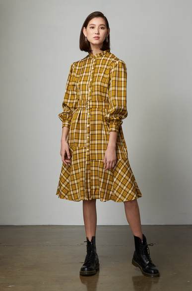 OLIVIA NZ Store online | Ariel Check Belt Dress / Yellow