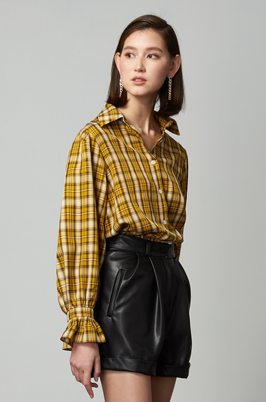 OLIVIA NZ Store online | Ariel Puff Sleeve Check Shirt / Yellow
