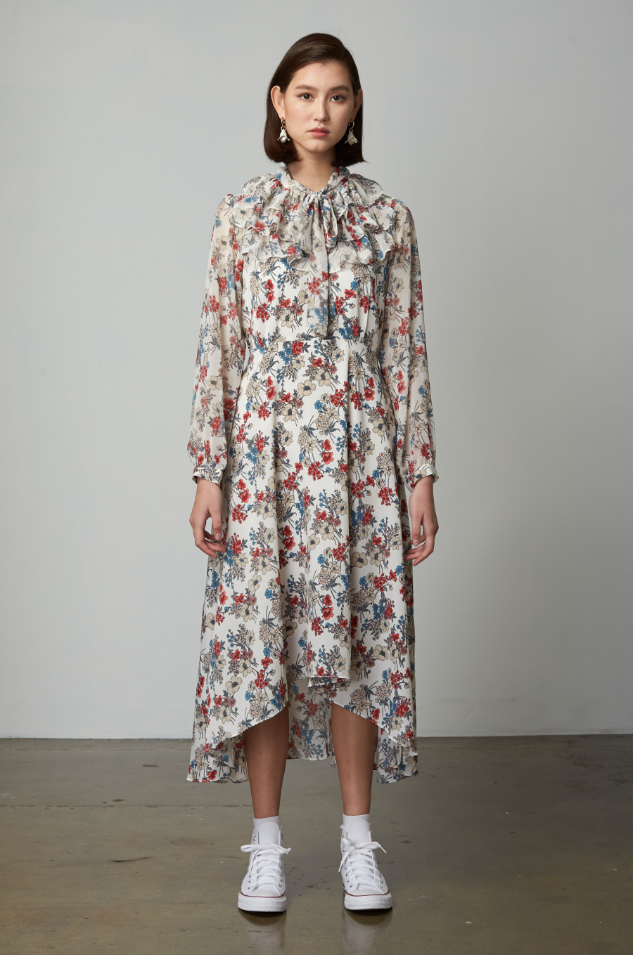 OLIVIA NZ Store online | Paige Floral Frill Dress / Cream