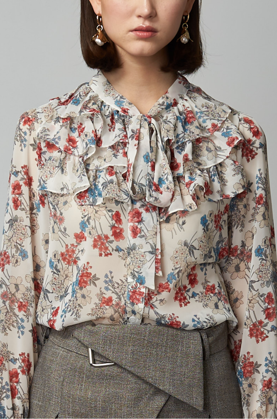 OLIVIA NZ Store online | Paige Floral Ruffle Blouse / Cream