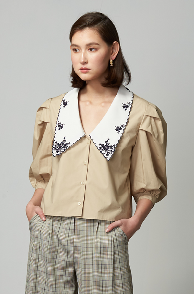 OLIVIA NZ Store online | Lady Embroidered Collar Blouse / Beige
