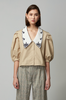 OLIVIA NZ Store online | Lady Embroidered Collar Blouse / Beige |