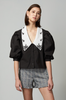 OLIVIA NZ Store online | Lady Embroidered Collar Blouse / Black |