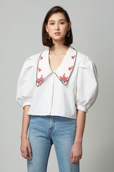 OLIVIA NZ Store online | Lady Embroidered Collar Blouse / Cream