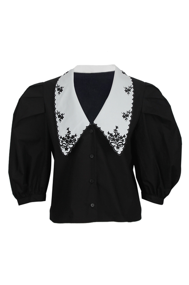 OLIVIA NZ Store online | Lady Embroidered Collar Blouse / Black