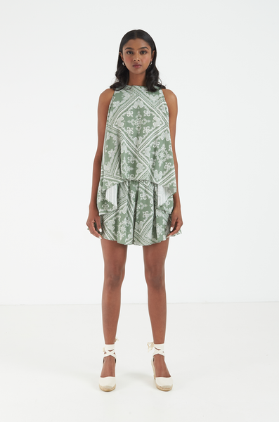 OLIVIA NZ Store online | Paisley Flared Top / Sage Green