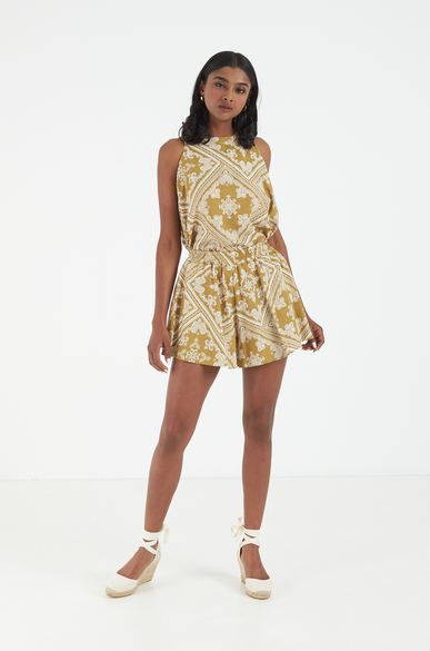 OLIVIA NZ Store online | Paisley Flared Top / Mustard
