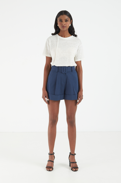 OLIVIA NZ Store online | Valentina Belted Shorts / Navy