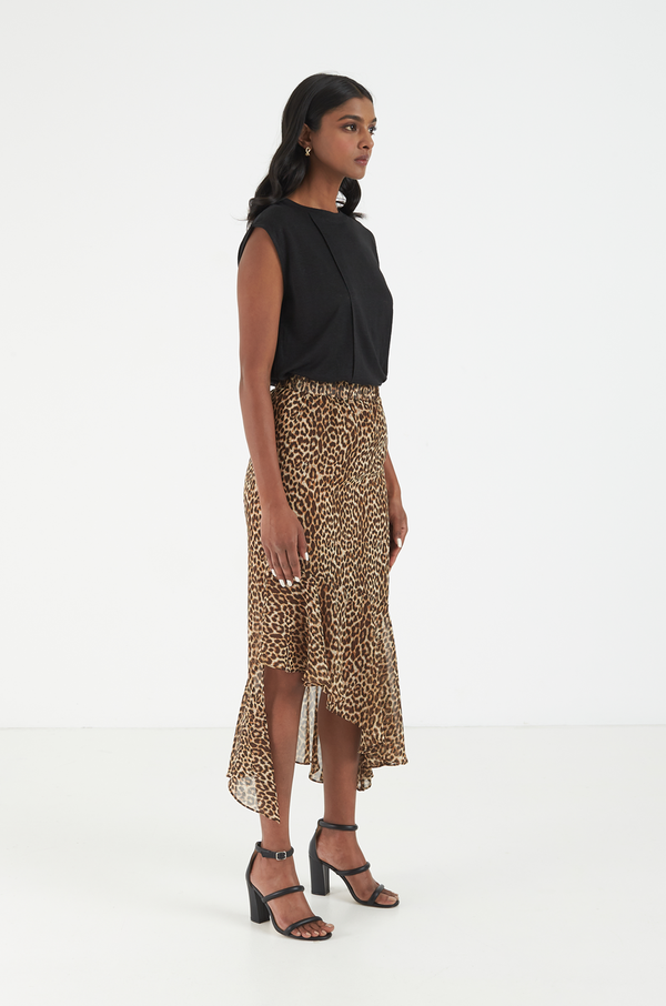 Serenity Leopard Skirt / Burnt Orange