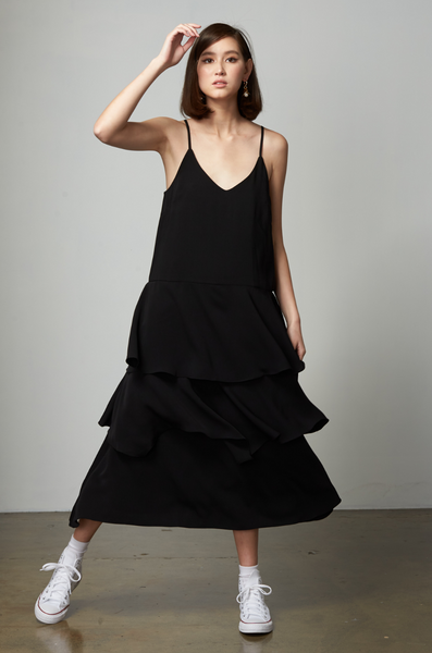 OLIVIA NZ Store online | Paris Ruffle Slip Dress / Black
