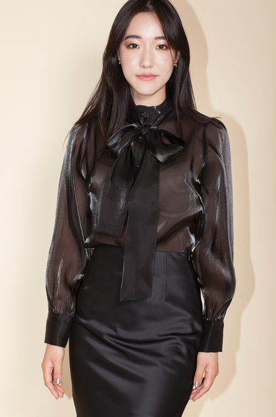 OLIVIA NZ Store online | Rendezvous Bow Blouse / Black