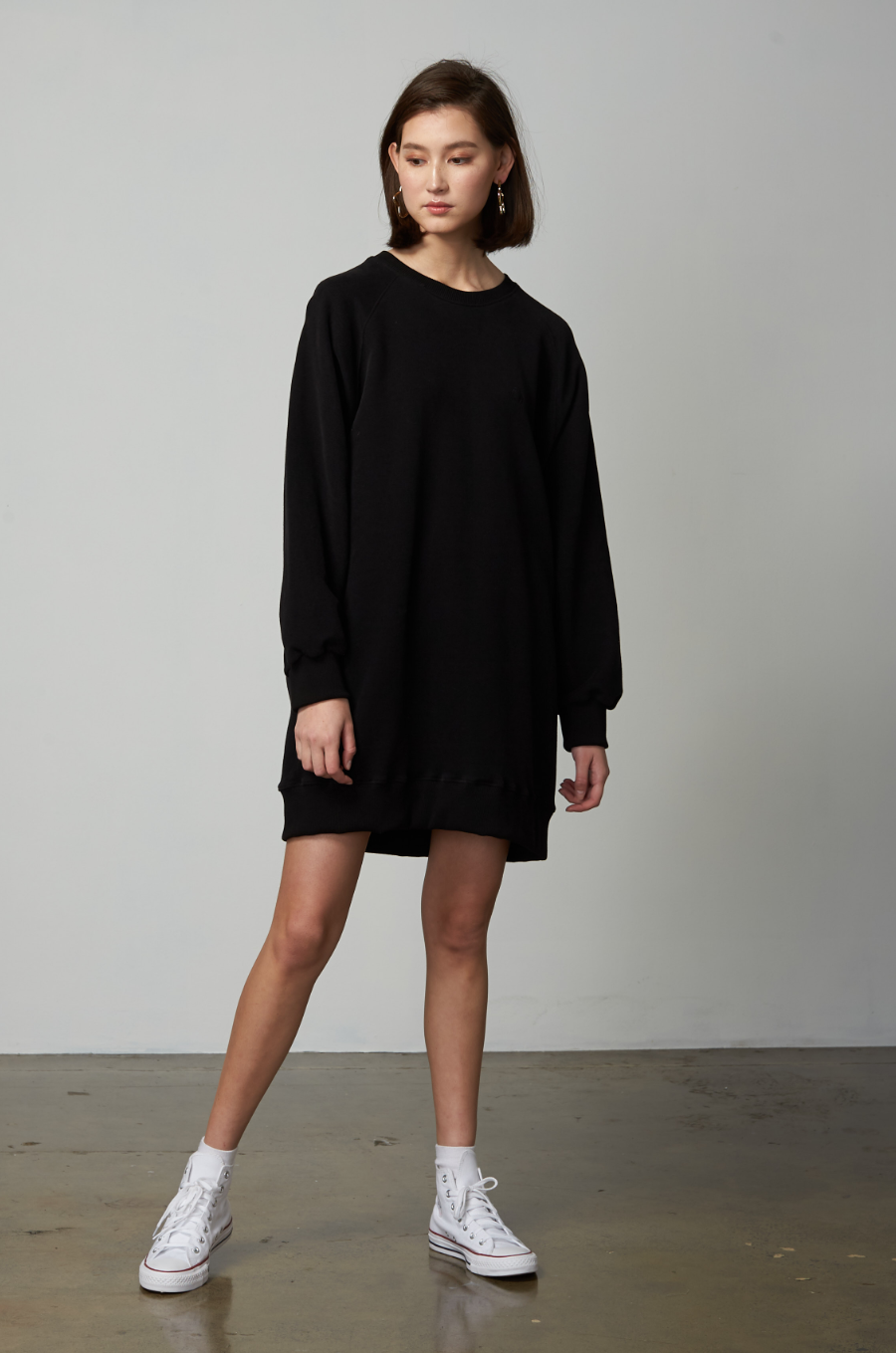 OLIVIA NZ Store online | Rooney Fleeced Raglan Dress / Black