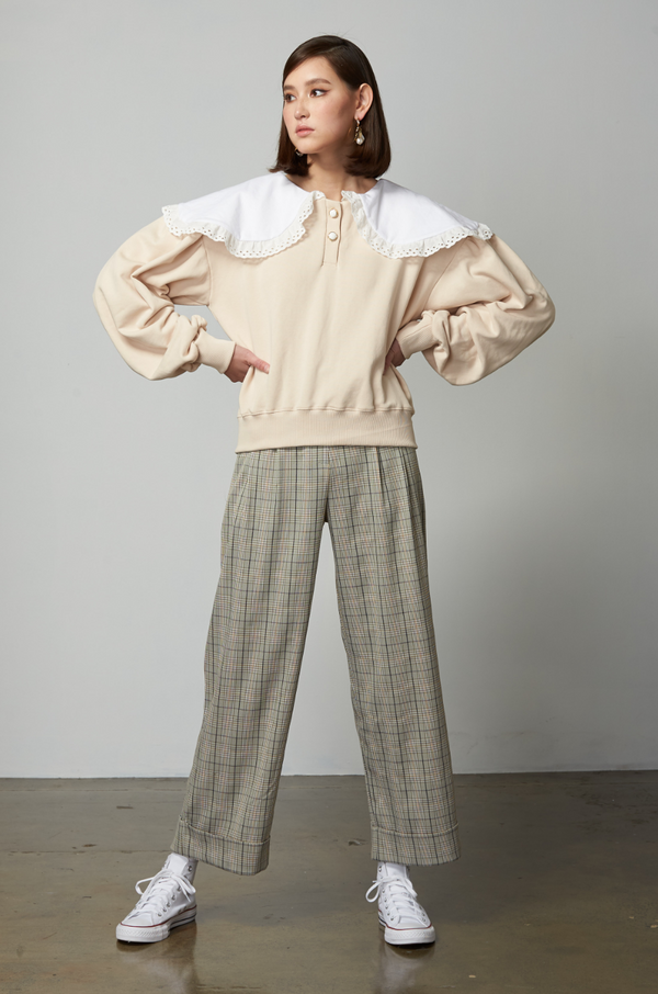 Sweetheart Checked Pants / Sage Green