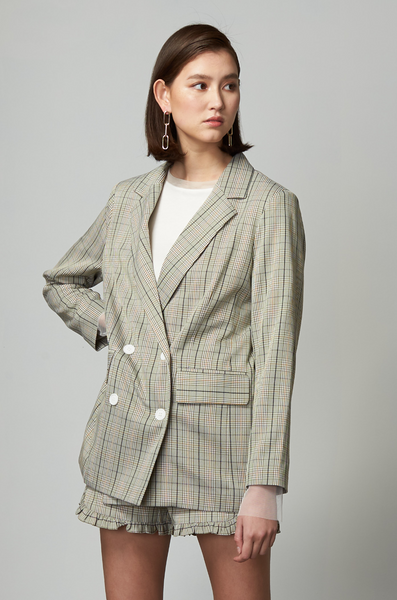 OLIVIA NZ Store online | Sweetheart Checked Blazer / Sage Green