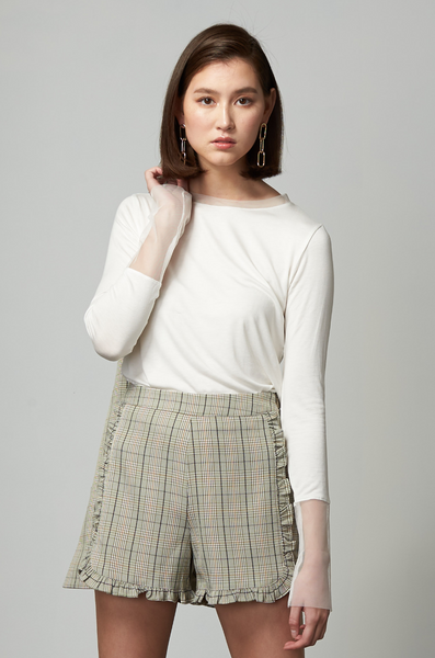 OLIVIA NZ Store online | Sweetheart Checked Shorts / Sage Green