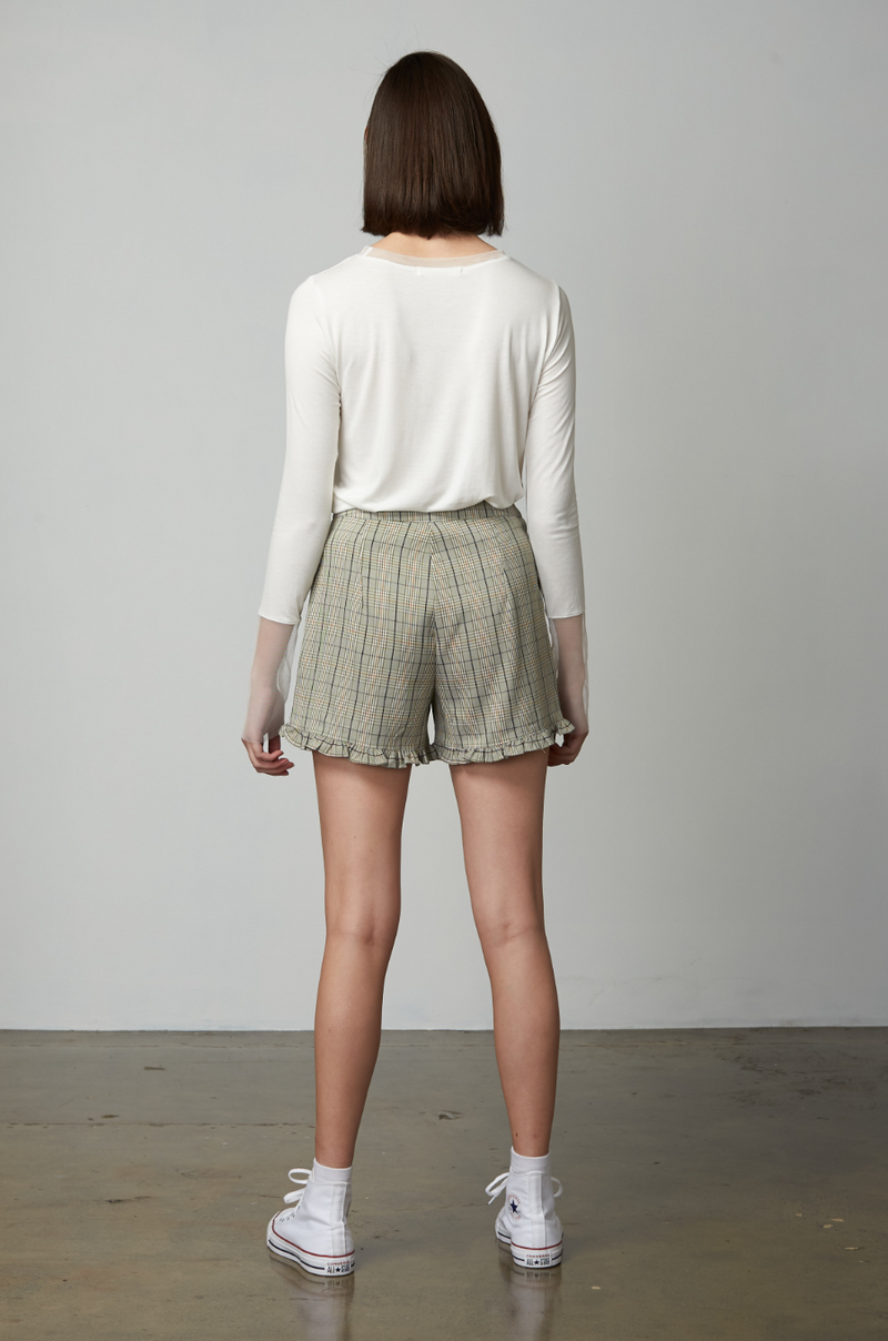 Sweetheart Checked Shorts / Sage Green