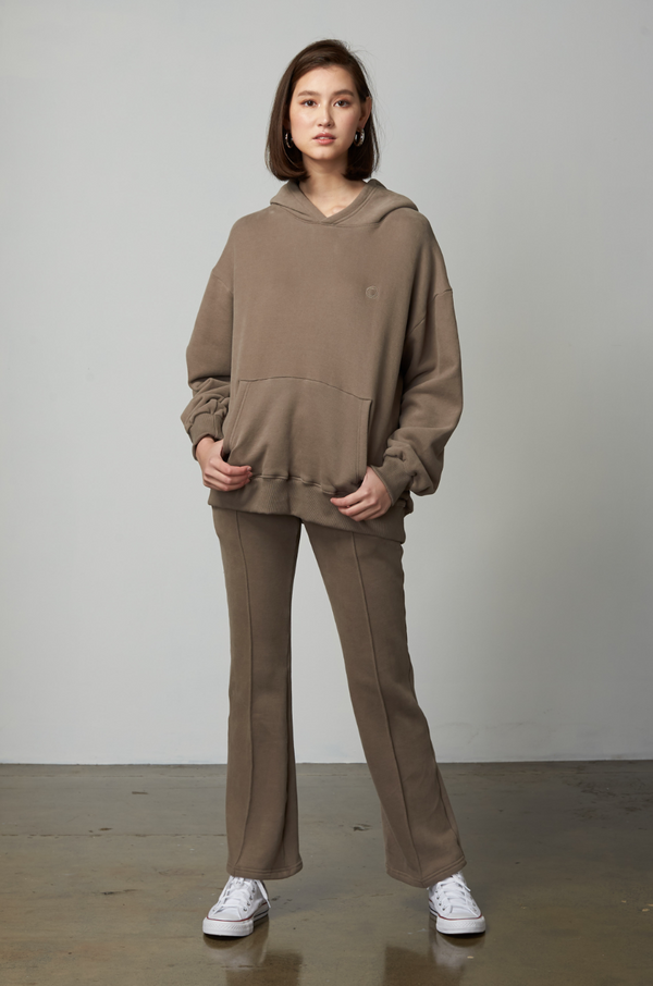 Vika Fleeced Flared Sweatpants / Beige