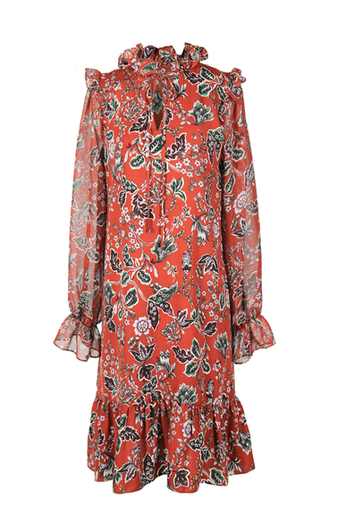 OLIVIA NZ Store online | Austyn Floral Dress / Dark Orange - OLIVIA NZ
