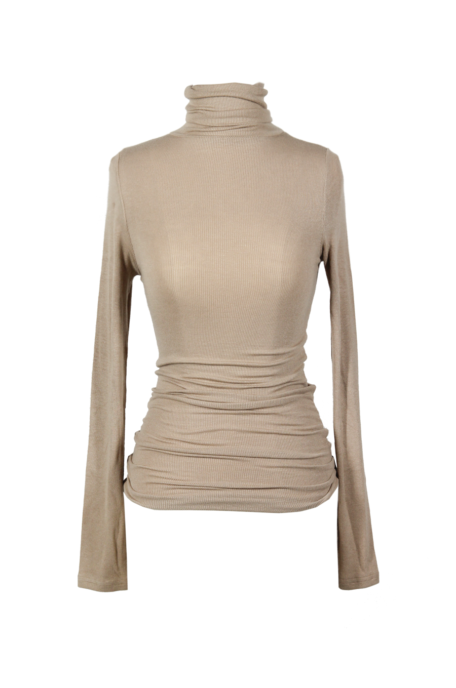 OLIVIA NZ Store online | Ribbed High Neck Top / Beige
