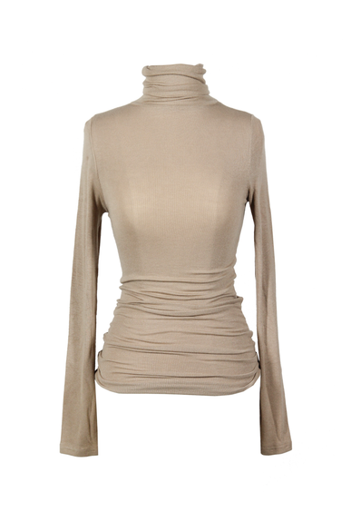 OLIVIA NZ Store online | Ribbed High Neck Top / Beige - OLIVIA NZ