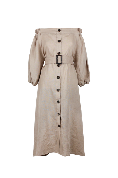OLIVIA NZ Store online | Charlotte Linen Button Down Dress / Beige - OLIVIA NZ