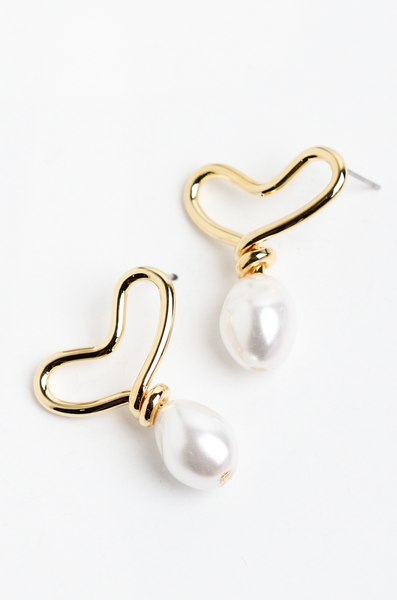 OLIVIA NZ Store online | Melina Heart Pearl Earrings