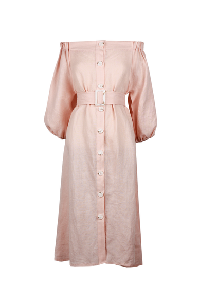 OLIVIA NZ Store online | Charlotte Linen Button Down Dress / Pink - OLIVIA NZ