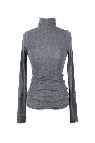 OLIVIA NZ Store online | Ribbed High Neck Top / Charcoal - OLIVIA NZ