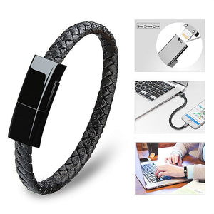 iPhone Leather Bracelet Lightning Android Type C USB Cable iPad 4 Mini Air Pro 6 6s Plus 7 8