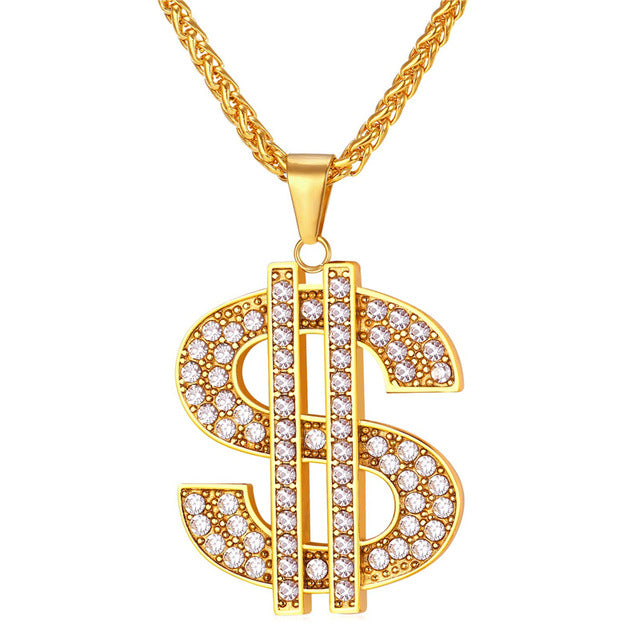 Dollar sign pendant gold necklace gold plated with rhinestones dollar sign pendant gold necklace gold plated with rhinestones mozeypictures Gallery
