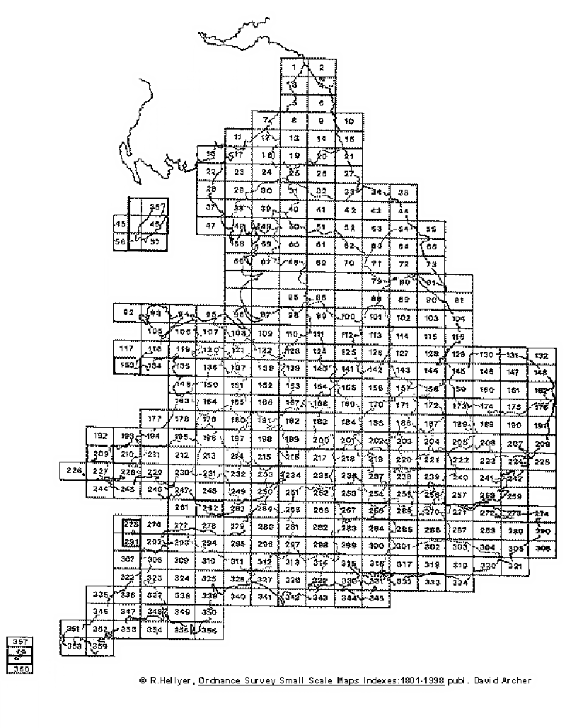 Index Map for England & Wales One Inch New Series – 19th Century