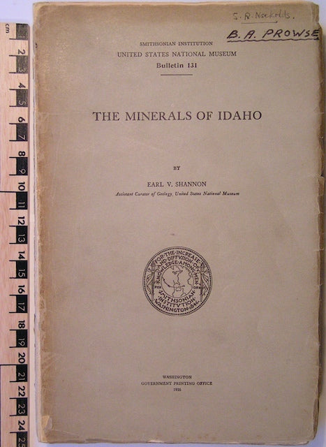The Minerals of Idaho, Smithsonian Institution US National Museum Bulletin 131, 1926, Washington.