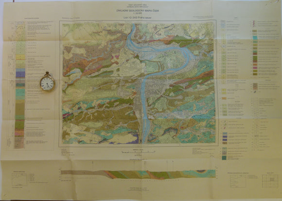 Czechoslovakia. 1983. List 12-243 Praha-sever. Prague. Colour printed geological map, 50 x 88cm at 1:25,000