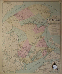 Map of the Province of New Brunswick and Eastern part (Gaspe Peninsula) of the Province of Quebec showing cities, towns and villages of population 400 or more, also Counties & Townships and Railways with Location of Stations, etc, …