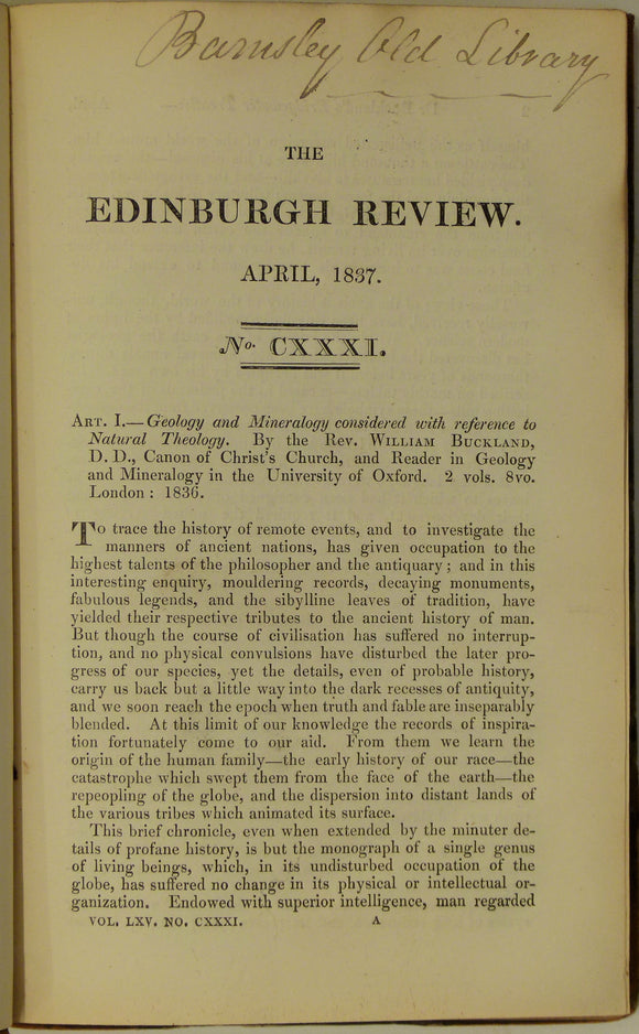 Buckland, William, 1836. Anonymous review of Geology and Mineralogy, Considered with Reference to Natural Theology. In Edinburgh Review, 1837, v 131, pp 1-39.