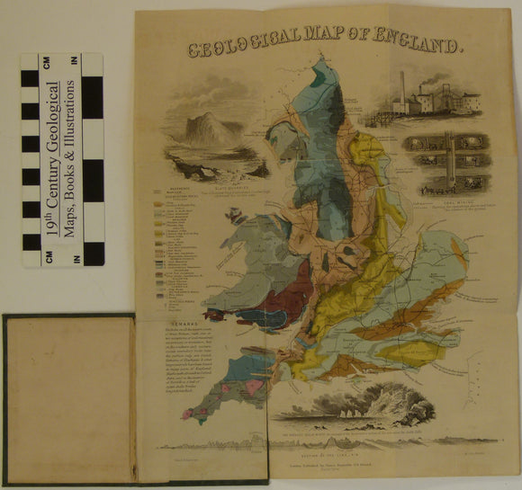 Pocket Geological Map of England [and Wales}, 1849. James Reynolds. 1:2,700,000 scale. Hand-coloured