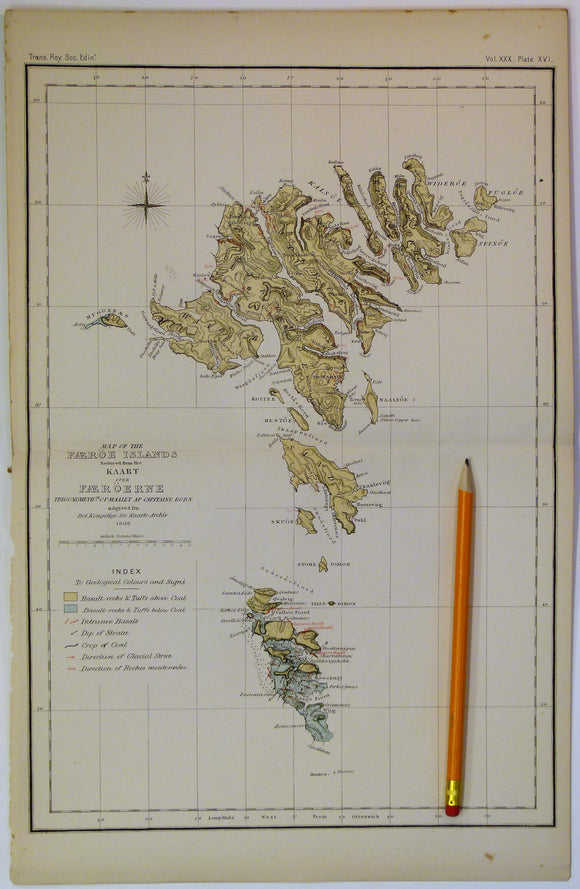Geikie, James (1882). [Geological] Map of the Faeroe Islands, in 'On the Geology of the Faeroe Islands', extract from the Transactions of the Royal Society of Edinburgh