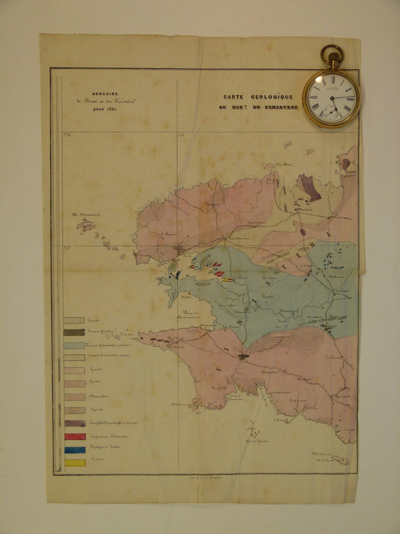 Finistere, Carte Geologique du Dept. du, 1837. , approx. scale 1:500.000. Hand-coloured