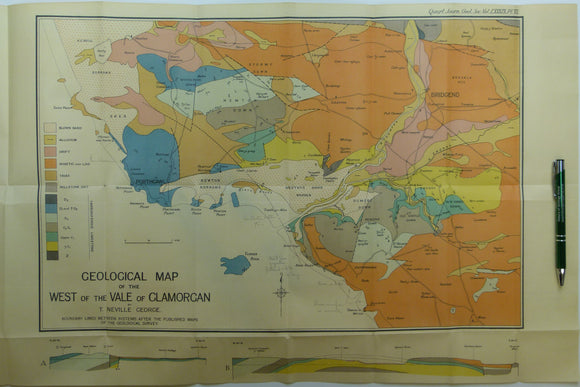 George, T. Neville, (1933). 'Geological Map of the West of the Vale of Glamorgan', fold out colour printed map