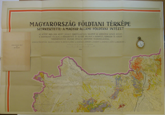 Hungary. 1956. Geological Map of Hungary. Set of 4 adjoining colour printed maps covering Hungary at 1:300,000 scale,