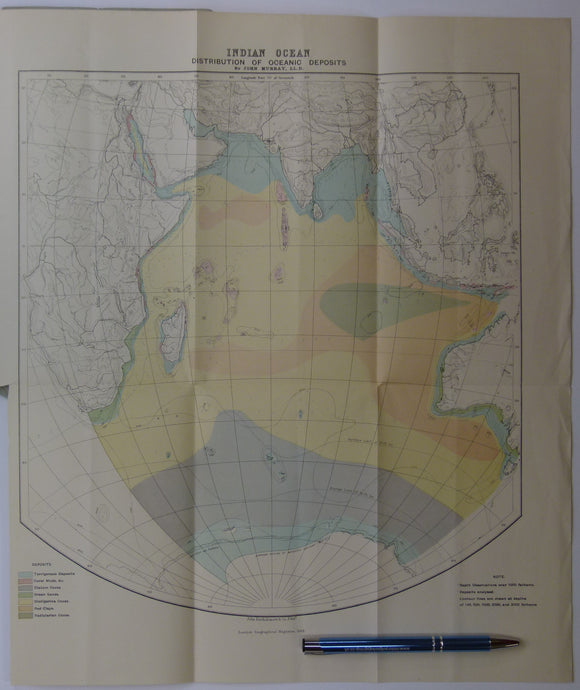 Indian Ocean; [Map of the] Distribution of Oceanic Deposits, John Murray, 1889. In 'On Marine Deposits in the Indian, Southern and Antarctic Oceans'
