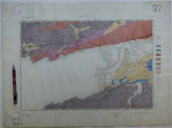 "Ireland sheet 172, Dingle Bay, 1"" scale. 1879. 30% Bay. Base map not dated. Coloured 1910. Hand-coloured"